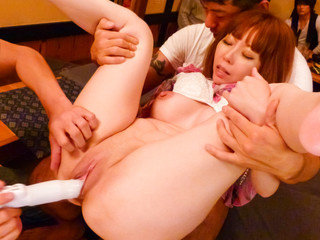 Minami Kitagawa's tight pink pussy stuffed with a rubber dildo