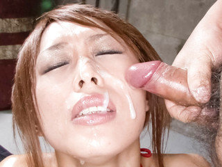 Rina takes an oil shower and her mouth investigated by two throbbing meaty pole