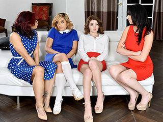 Sexy Milfs Swap Their Aggressive Teen Slut Daughters